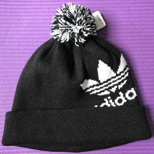 NEW Men's Adidas Trefoil Logo Black Knit Beanie